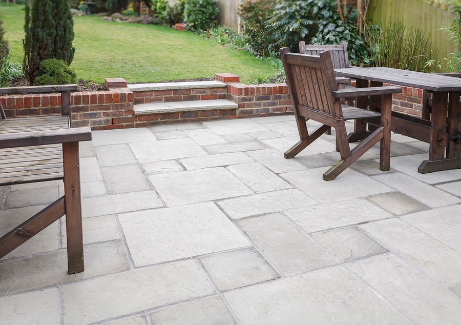 flagstone patio and backyard